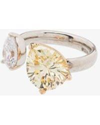 APPLES & FIGS Sterling Crystal Ring - Metallic