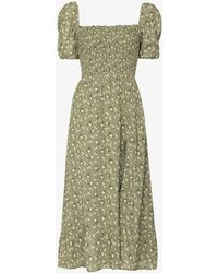 Reformation Meadow Floral Midi Dress - Green