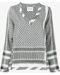 Cecilie Copenhagen Keffiyeh Print V-neck Shirt - Black