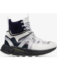 Ganni Brooklyn High High Top Leather Sneakers - Gray