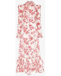The Vampire's Wife Ruffle Neck Floral Print Dress - White