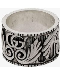 Gucci - Sterling Silver Double G Leaf Motif Ring - Lyst