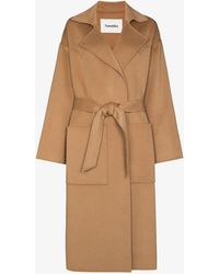 Nanushka Alamo Belted Wool Coat - Brown