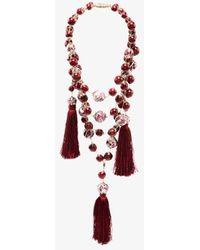 Rosantica Bead Drape Tassel Necklace - Red