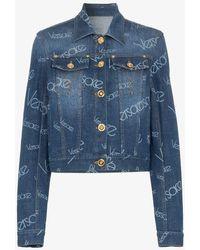 Versace - Logomania Print Denim Jacket - Lyst