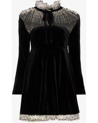 Masterpeace Ruffle Neck Velvet Mini Dress - Black