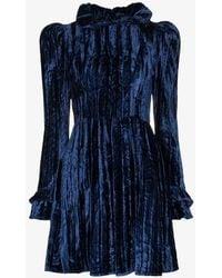 BATSHEVA Prairie Velvet Mini Dress - Blue