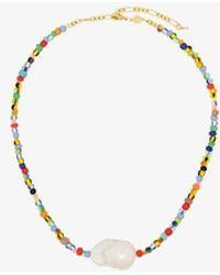 Anni Lu 18k Gold-plated Alaia Rainbow Beaded Pearl Necklace - Metallic