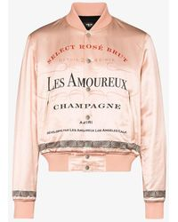 Amiri Les Amoureux Champagne Print Bomber Jacket - Pink