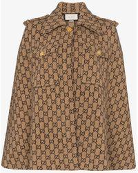 Gucci GG Motif Wool Cape - Brown