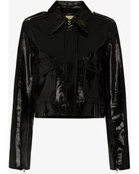 Khaite Cordelia Patent Leather Jacket - Black