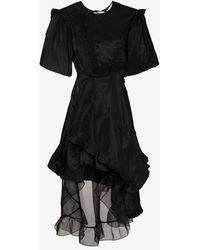Preen By Thornton Bregazzi Asymmetric Taffeta Mini Dress - Black