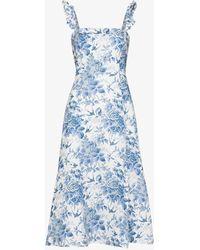 Reformation Spaulding Floral Linen Midi Dress - White