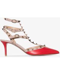Valentino Garavani Rockstud Caged 65 Leather Ankle Strap Pump - Red