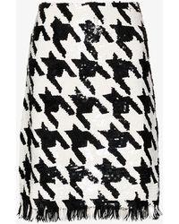Ashish Sequinned Houndstooth Skirt - Black