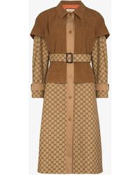 Gucci Layered gg Leather Trench Coat - Brown