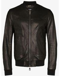 Dolce & Gabbana Logo Plaque Bomber Jacket - Black