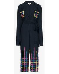 All Things Mochi Amelia Embroidered Jumpsuit - Blue
