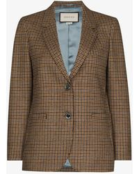 Gucci Houndstooth Single-breasted Blazer - Brown