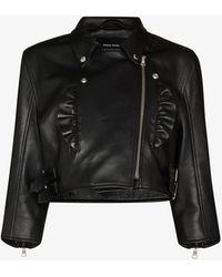 Simone Rocha Frill Detail Biker Jacket - Black
