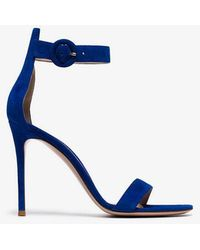 Gianvito Rossi - Blue 105 Ankle Strap Suede Sandals - Lyst