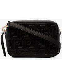 Fendi - Black Logo Embossed Mini Leather Camera Bag - Lyst