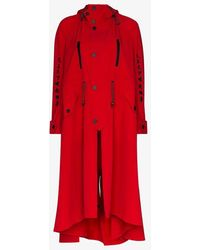 Angel Chen Toko Fuku Embroide Asymmetric Coat - Red