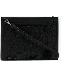 Christian Louboutin Black Sky Sequin Glitter Embellished Leather Pouch