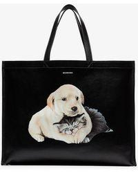 Balenciaga Black Dog And Cat Leather Tote