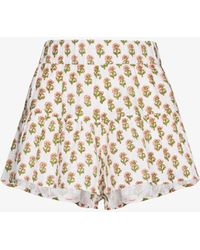 Anaak Flutter Floral Print Shorts - White