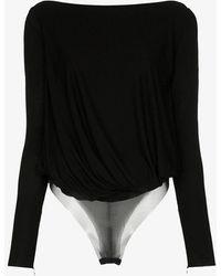 Tom Ford Cowl Back Draped Bodysuit - Black