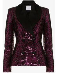 Halpern Satin Lapel Sequin Blazer - Pink