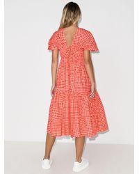 Molly Goddard X Browns 50 Bo Gingham Midi Dress - Red