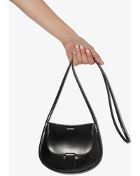 Jil Sander Mini Leather Cross Body Bag - Black