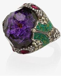 Sevan Biçakci 24k Flower Amethyst Diamond Ring - Metallic