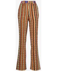 Kenneth Ize Striped Slim Leg Trousers - Orange