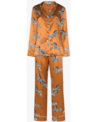 Olivia Von Halle Lila Zelda Zebra Motif Silk Pyjamas - Brown