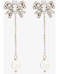 Miu Miu - Crystal-bow Pearl Drop Earrings - Lyst