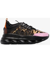 Versace Chain Reaction Leopard Print Suede Sneakers - Black