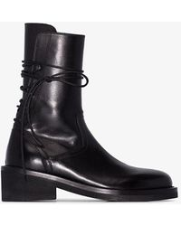 Ann Demeulemeester 60 Rear Lace-up Leather Boots - Black
