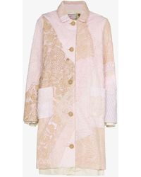 By Walid Rachel Embroidered Cotton Coat - Pink
