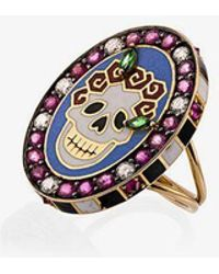 Holly Dyment Womens Multi 18k Yellow Gold Skull Sunday Diamond Sapphire Ring - Multicolour