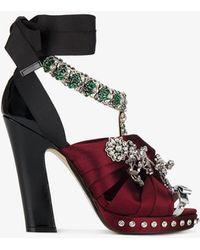 N°21 Crystal Embellished Satin Bow Sandals - Red