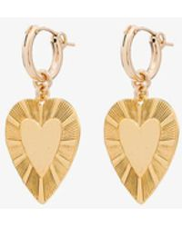 Brinker & Eliza Plated The Best Is Yet To Come Heart Earrings - Metallic