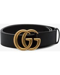 Gucci Womens Black Gg Marmont Leather Belt