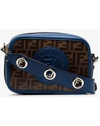 Fendi - Navy Blue And Brown Zucca Print Contrast Trim Leather Cross Body Bag - Lyst