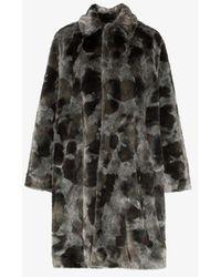 Balenciaga Faux Fur Opera Coat - Gray