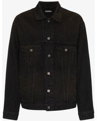 Balenciaga Back Logo Denim Jacket - Black