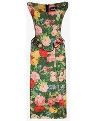 Richard Quinn Floral Print Peplum Midi Dress - Green