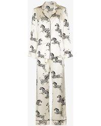 Olivia Von Halle Lila Zebedee Printed Silk Pyjamas - White